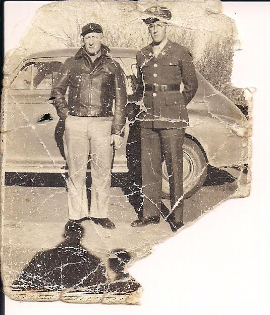 Corporal Henry Bernard Van Hyfte with his father in Minnesota before World War II.