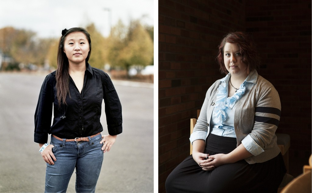 "Mai (left, age 17, St. Paul, MN) and Hannah (right, age 21, Minneapolis, MN) pose for ""We Are the Youth,"" a photo essay documenting the stories of LGBTQ youth. Photos by Laurel Golio"