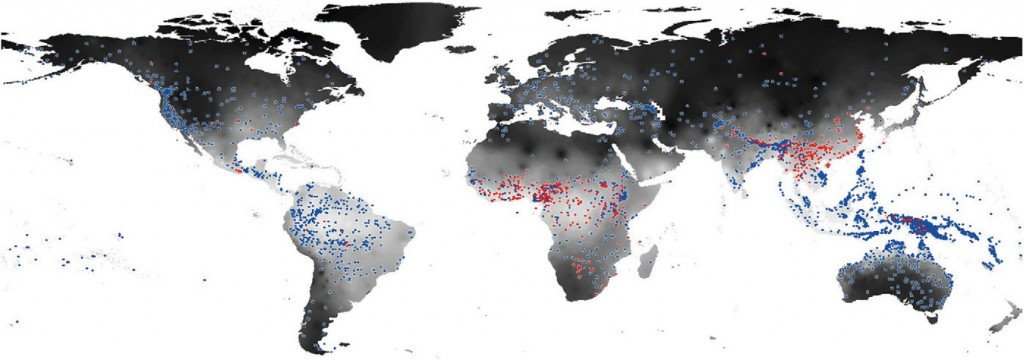 Distribution of tonal languages (red dots) and non-tonal languages (blue dots) in the Phonotactics Database of the Australian National University. Darker shading on the map corresponds to lower average humidity. Photo by Everett C. et al. PNAS 2015.