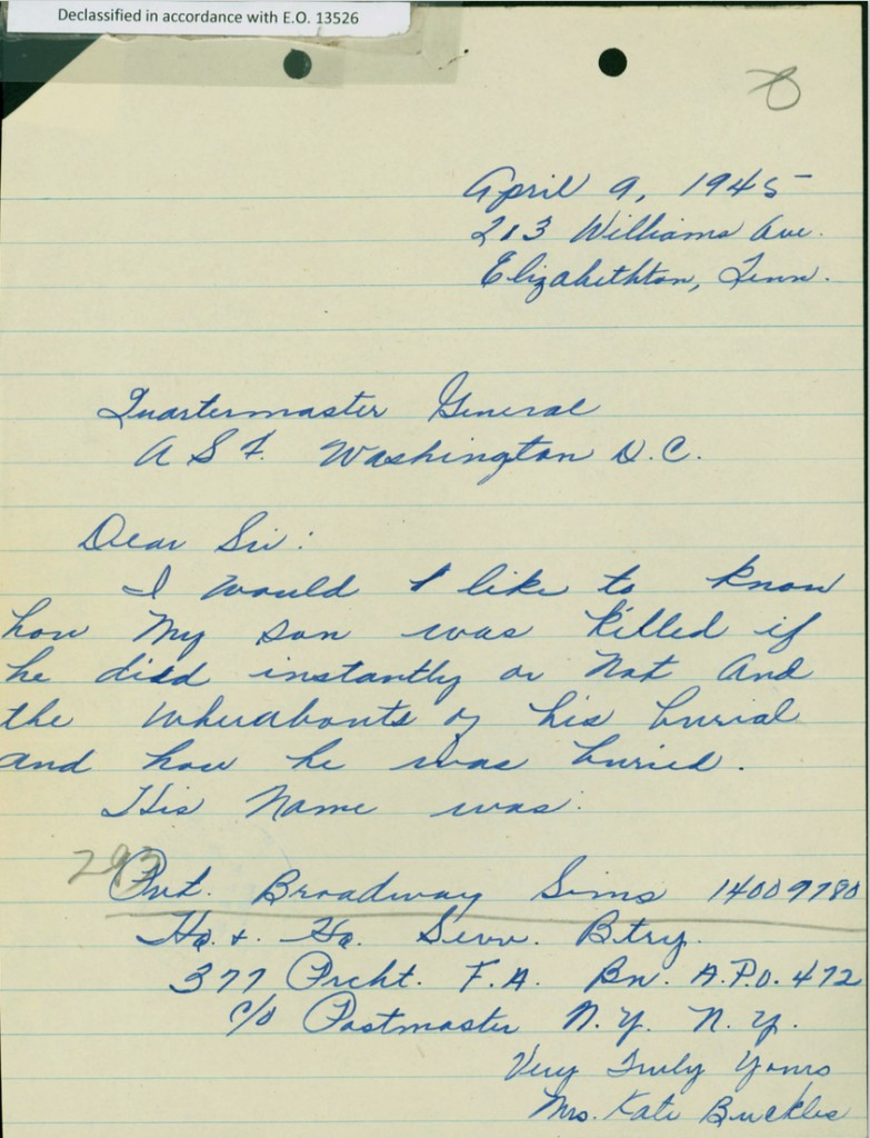 Letter from the father of Technician Broadway Valentine Sims, who was killed on June 11, 1944