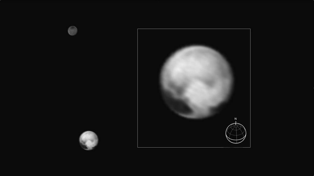 This new image shows Pluto and its largest moon Charon seen from New Horizons on July 1, 2015. The inset shows Pluto enlarged; features as small as 100 miles across are visible. Image by NASA/JHUAPL/SWRI