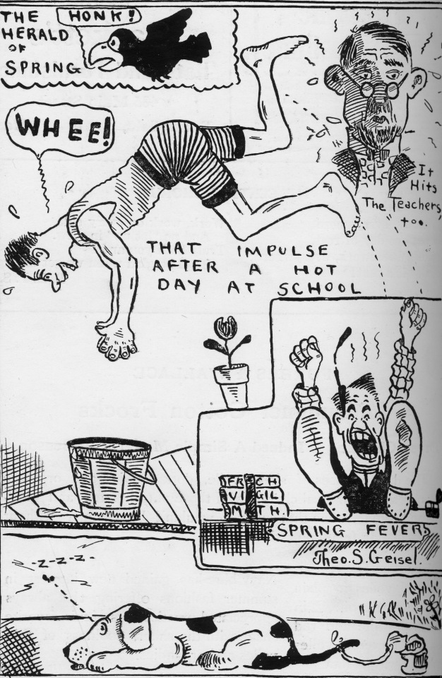 an early cartoon from geisel in 1920 that was published in the central recorder a