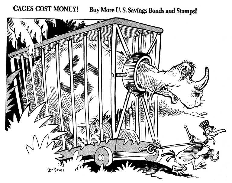 """Cages cost money!"", a Dec. 15, 1941 political cartoon from Dr. Seuss. Image courtesy of Special Collection & Archives, UC San Diego Library"