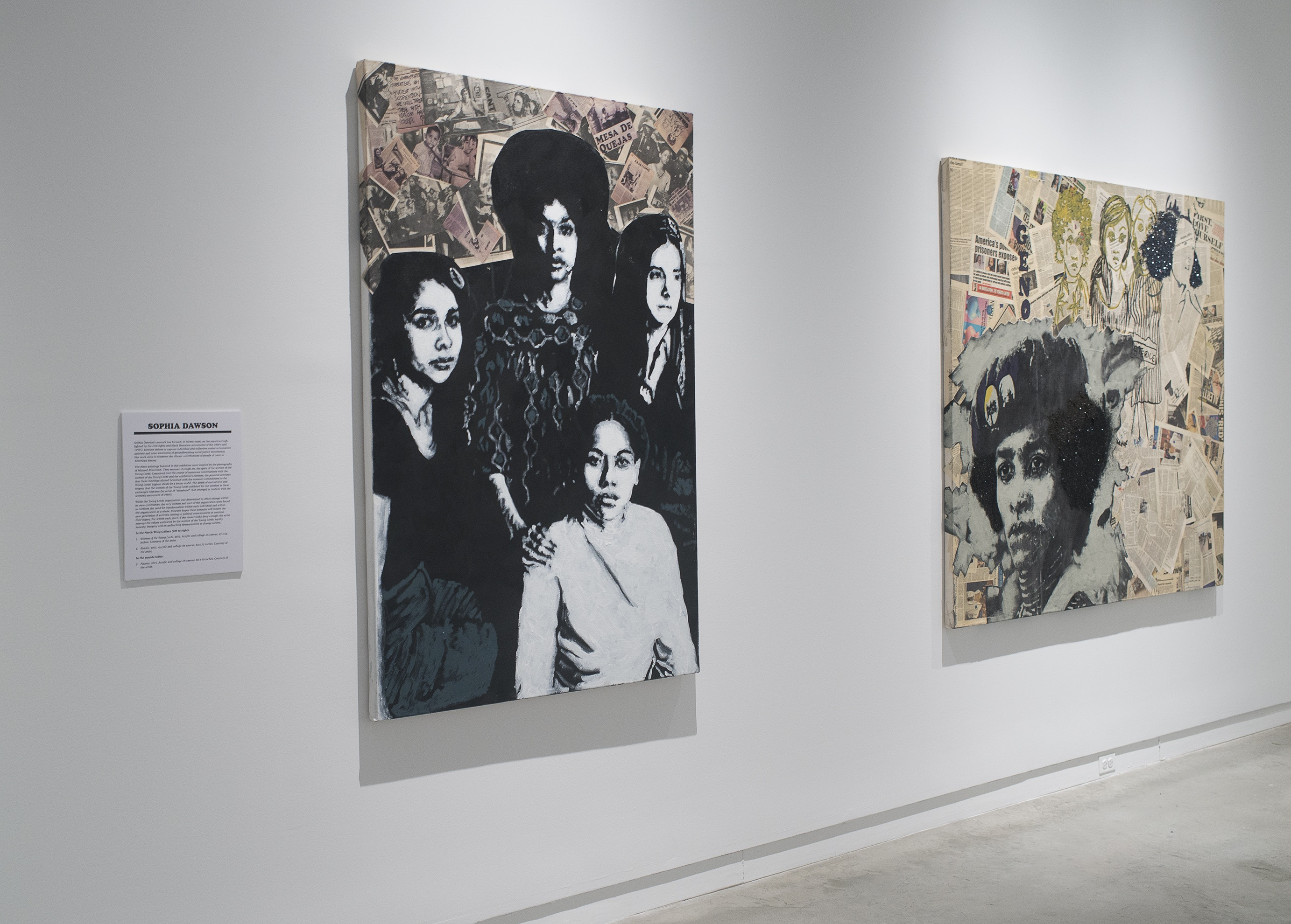 Installation view at the Bronx Museum of the Arts of Palante (2015) and Women of the Young Lords (2015) by Sophia Dawson. Photo by Vanessa S. Clifton​.