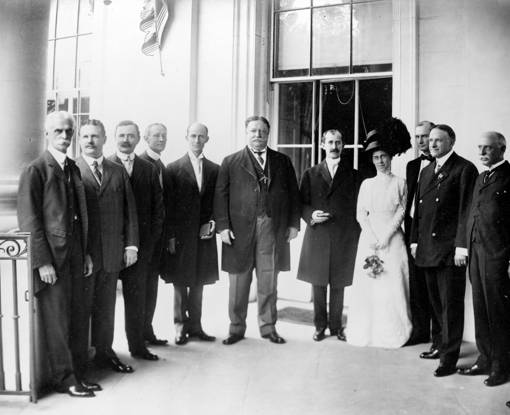 Orville, Wilbur and Katharine visited U.S. President William Howard Taft on June 10, 1909, where the brother recieve Aero Club of America gold medals in front of a 1,000-person crowd. Courtesy of David McCullough/The Wright Brothers/Simon & Schuster