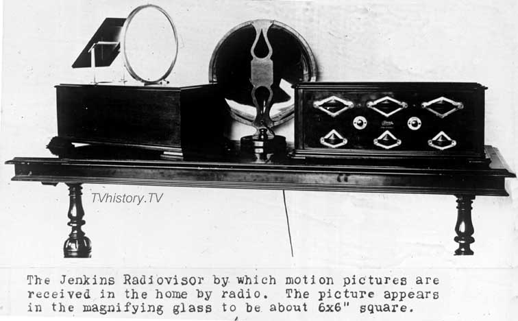 Jenkins' radiovisor, which used radio receivers to transmit images to a magnifying glass. Date unknown? Image provided courtesy of tvhistory.tv