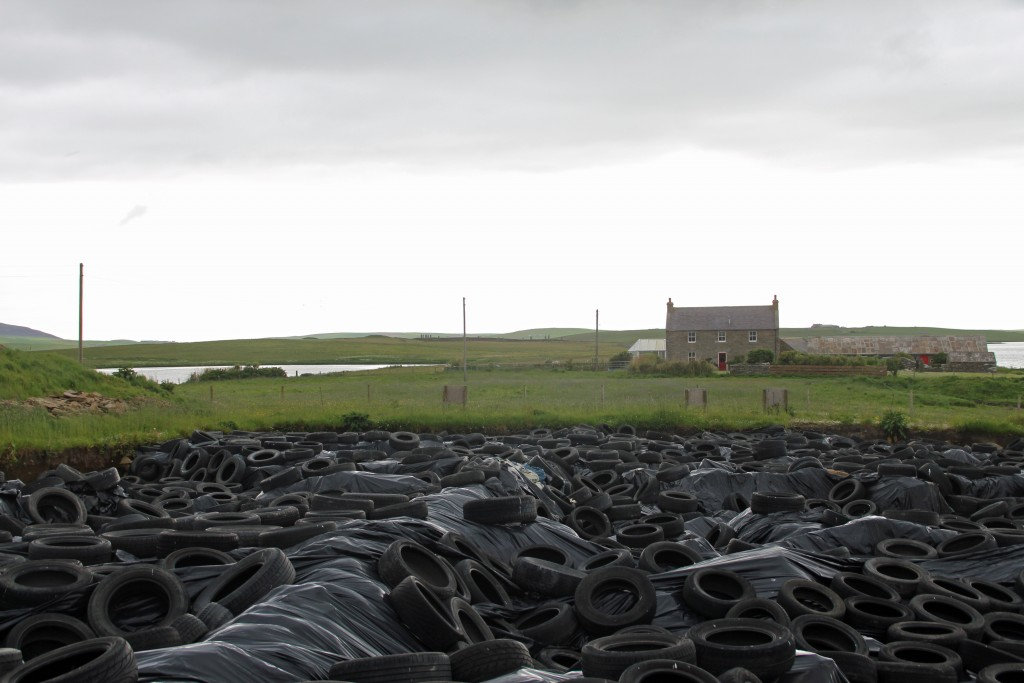 The dig site is covered with 5000 sandbags, tarps and tires to keep  out the cold and wind. Photo by Lorna Baldwin.