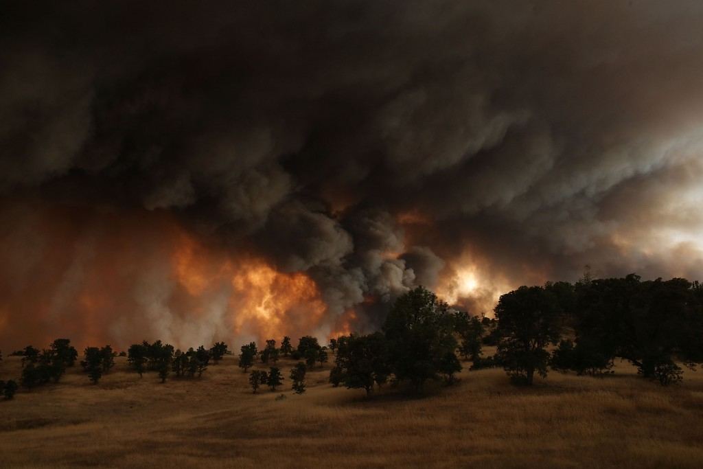 A large plume of smoke rises from the Rocky Fire near Clearlake, CA on Aug. 1, 2015. Photo by Justin Sullivan/Getty Images