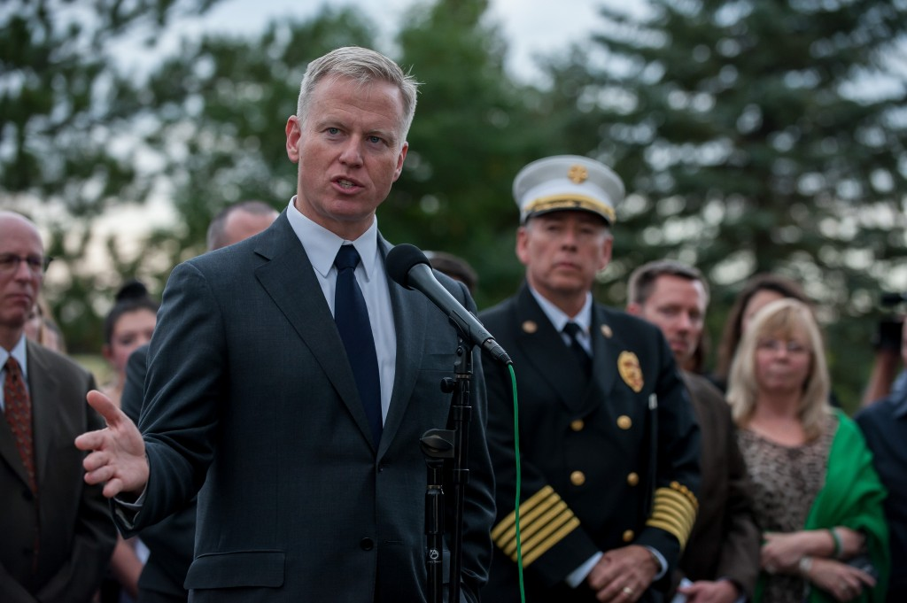 District Attorney George Brauchler speaks during a press conference following the announcement of the sentence in the James Holmes Aurora theater shooting case at the Arapahoe County Justice Center on August 7, 2015 in Centennial, Colorado.  Photo by Dustin Bradford/Getty Images.