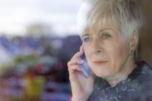 Senior woman on smart phone