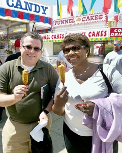 Gwen and then-PBS NewsHour Political Director David Chalian enjoying food on stick at the fair. Photo by PBS NewsHour