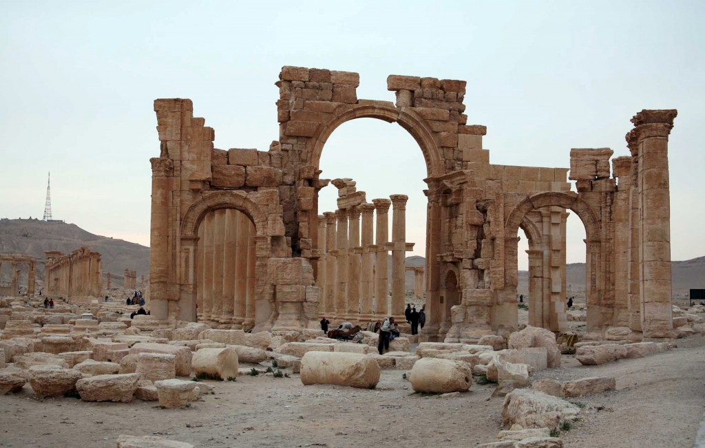 Tourists visit the historical city of Palmyra, Syria, on April 14, 2007. Islamic State fighters in Syria took over the city in May 2015. Photo by Nour Fourat/Reuters
