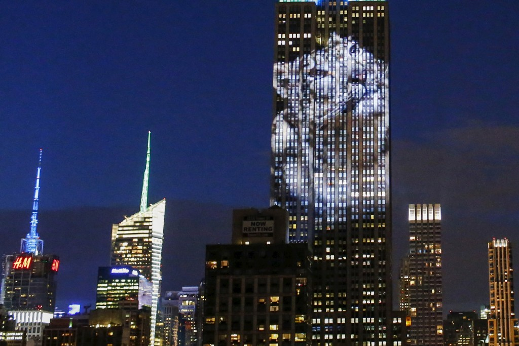 An image of an animal is projected onto the Empire State Building in New York August 1, 2015. Photo by Eduardo Munoz/Reuters.
