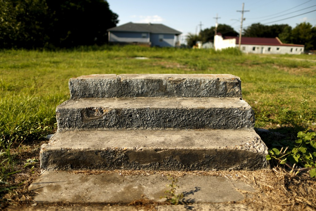 Steps are all that remain of where a house once stood are seen in the Lower Ninth Ward neighborhood of New Orleans a decade after Hurricane Katrina. Photo by Jonathan Bachman/Reuters