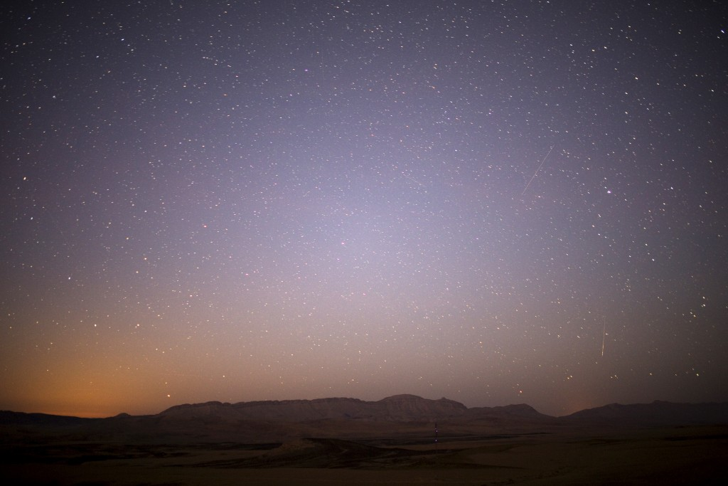 Meteor streaks across the sky in the early morning during the Perseid meteor shower in Ramon Carter near the town of Mitzpe Ramon, southern Israel, August 13, 2015. Photo by Amir Cohen/Reuters
