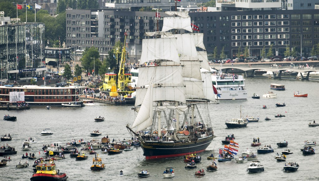 The Stad Amsterdam clipper sails  in Amsterdam, Netherlands. Photo by Toussaint Kluiters/Reuters