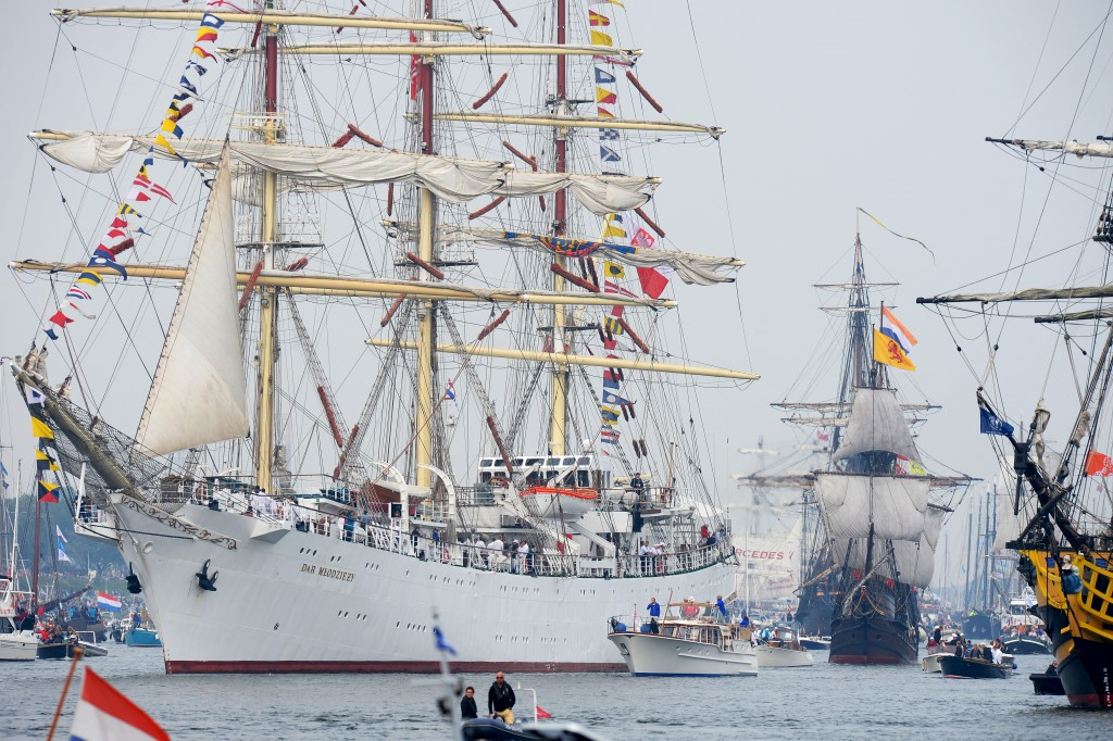 Poland's Tall ship Dar Mlodziezy is seen during the Sail-In Parade in Amsterdam, Netherlands. Photo by Paul Vreeker/Reuters