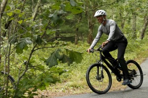 President Barack Obama took time to go for a bike ride with his family during a vacation on Martha's Vineyard in Massachusetts last August. Obama has been an active exerciser-in-chief during his White House tenure. Photo by Kevin Lamarque
