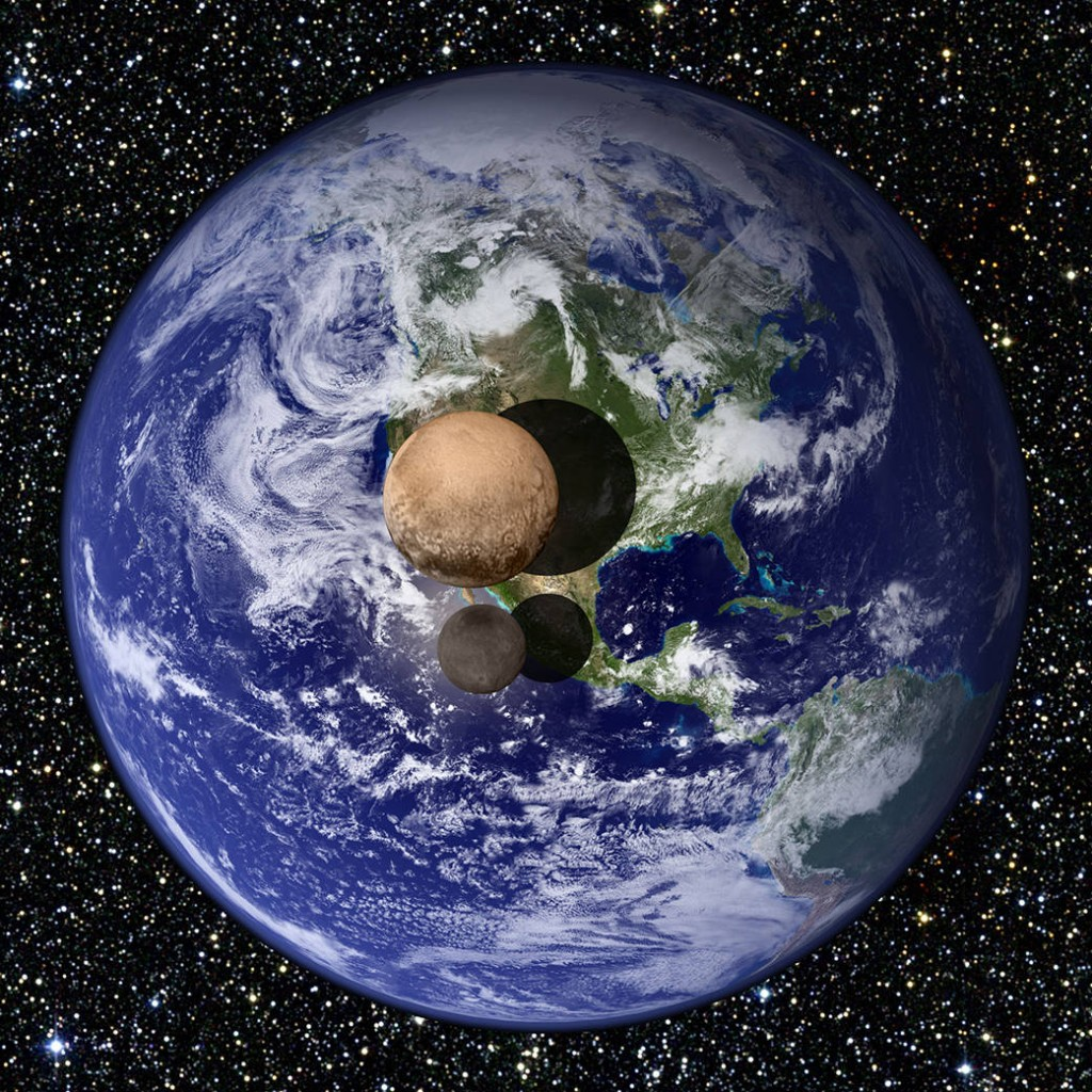 A view of Pluto and Charon as they would appear if placed slightly above Earth's surface and viewed from a great distance.  Recent measurements obtained by New Horizons indicate that Pluto has a diameter of 1,472 miles, 18.5% that of Earth's, while Charon has a diameter of 750 miles, 9.5% that of Earth's. Photo by NASA.