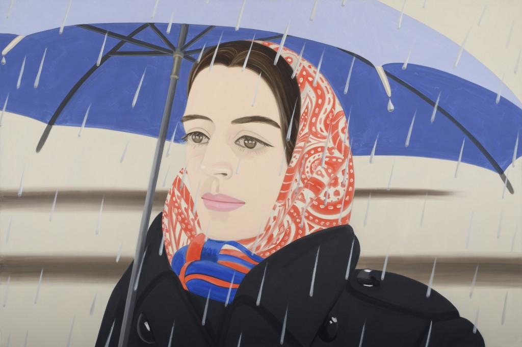 Alex Katz, Blue Umbrella #2, 1972. Oil on canvas. 96 x 144 inches. Collection of Peter Blum, NYC  12-Alex-Katzs-1972-Blue-Umbrella-featuring-Ada-shown-at-the-High-Musem-this-year-©Alex-Katz-Licensed-by-VAGA-New-York-NY..jpg