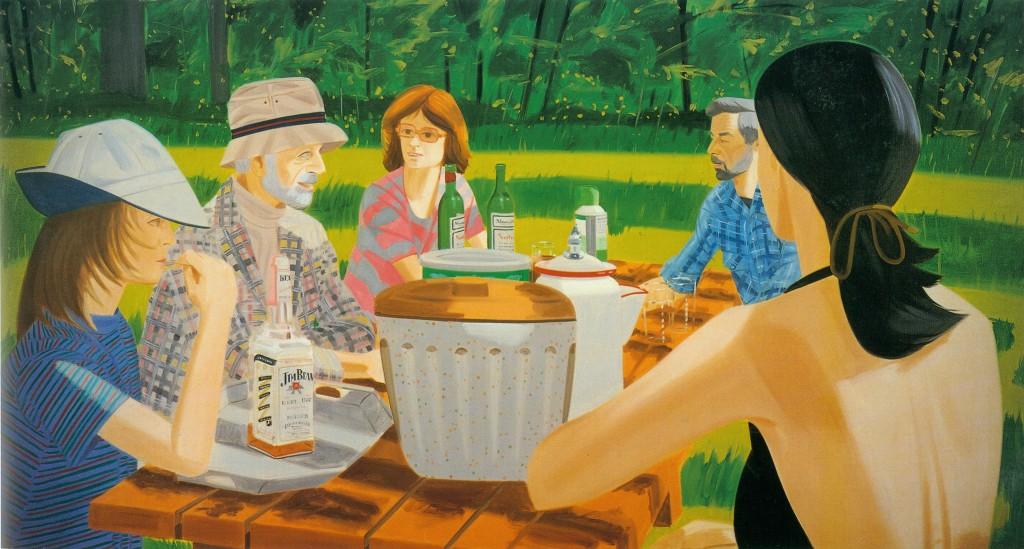 13 Alex Kat's 1975 painting, Summer Picnic shows his tranition from figurative pictures to landscapes  (©Alex Katz Licensed by VAGA, New York, NY)