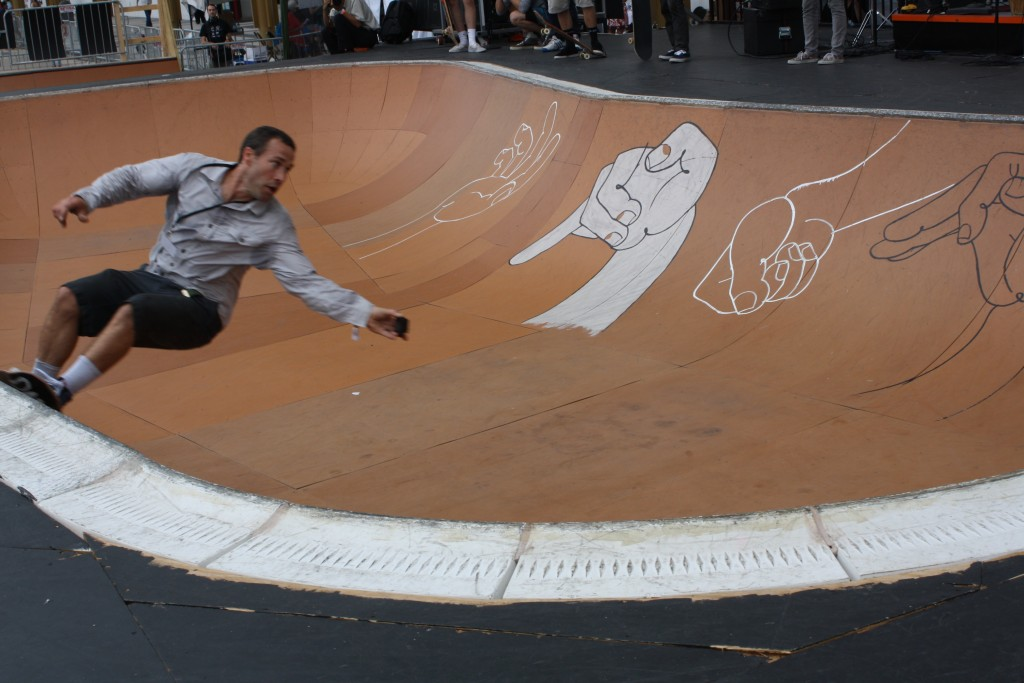 """Skaters in the bowl outside  the Kennedy Center at the """"Finding a Line"""" festival on Sept. 10, 2015. Photo by Alexandra Hall"""