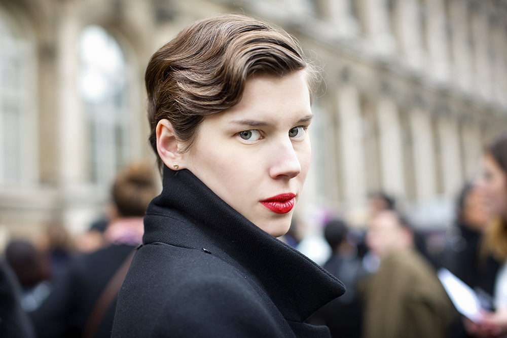 """Schuman said what strikes him most about this shot is the """"androgynous"""" look of the subject. """"The hair is great, the way that she looks directly at you, and it's not a judgmental way, it's not. There's something about the gaze in her eye that really connects, I think, with the viewer, but in a way that you're able to look back at her."""" Photo by Scott Schuman"""