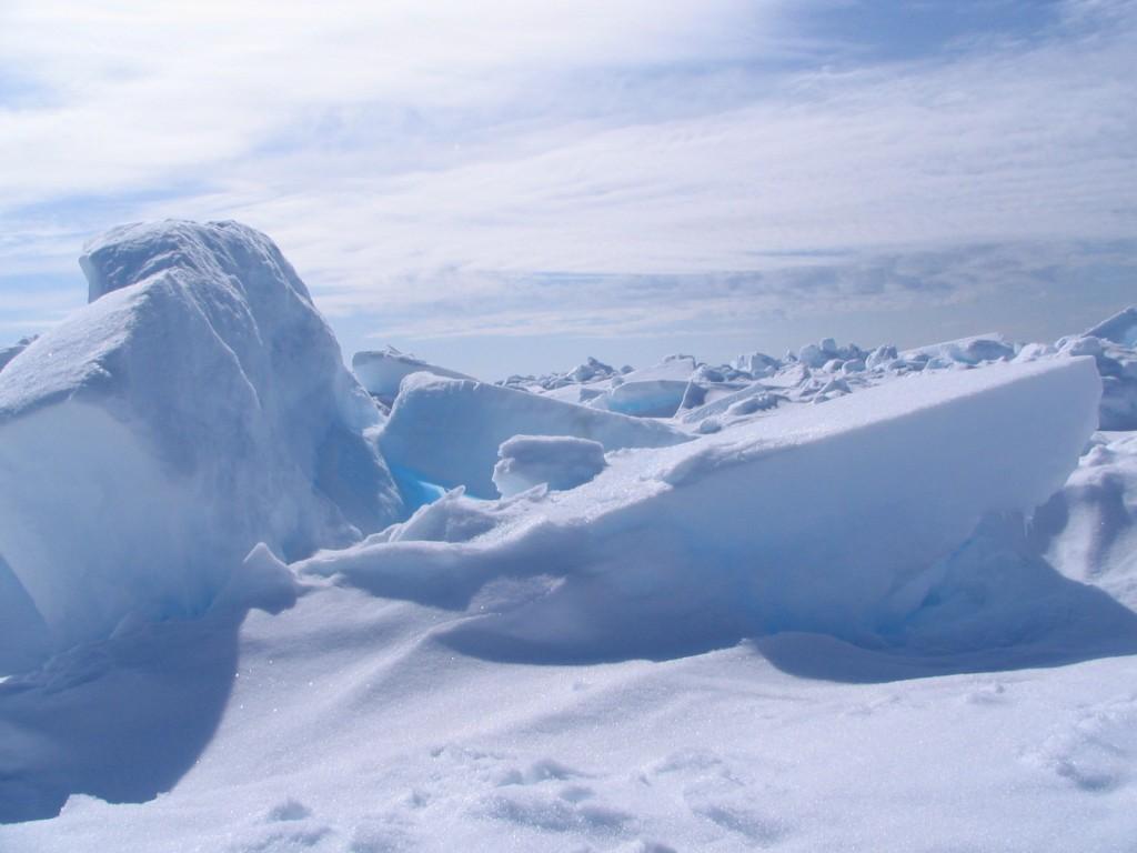 Upturned sea ice blocks in the Beaufort Sea, Arctic Ocean. Photo by NOAA/Sinead Farrell