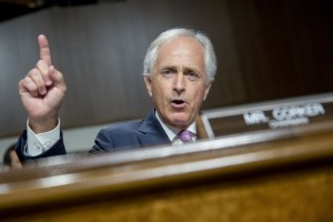 Senator Bob Corker, a Republican from Tennessee and chairman of the Senate Foreign Relations Committee, makes an opening statement during a Senate Foreign Relations Committee hearing n Washington, D.C., U.S., on Thursday, July 23, 2015. Corker, a key player in the congressional debate over the nuclear deal with Iran, told Secretary of State John Kerry that the Obama administration is engaging in hyperbole to sell it. Photographer: Andrew Harrer/Bloomberg via Getty Images