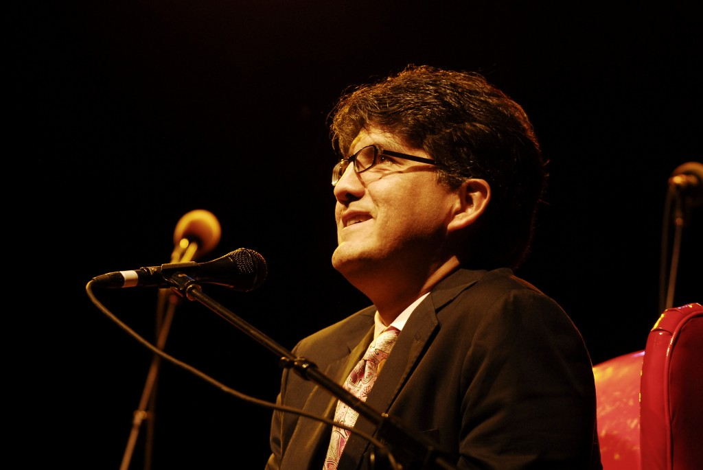 "Sherman Alexie interviewed on stage as part of the Live Wire! Radio Show at Aladdin Theater on October 10, 2009 in Portland, O.R. Alexie received criticism this week for including a poem in ""Best American Poetry 2015"" by a white author using a Chinese name. Photo by Anthony Pidgeon/Redferns"