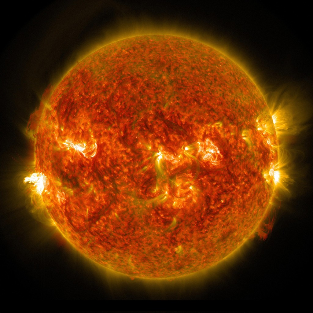 The sun emits a mid-level solar flare which erupted on the left side of the sun on August 24, 2014. The sun's solar wind, which sometimes collides with the moon contains helium-3, a gas that could help solve Earth's energy problems. Image by NASA/Reuters