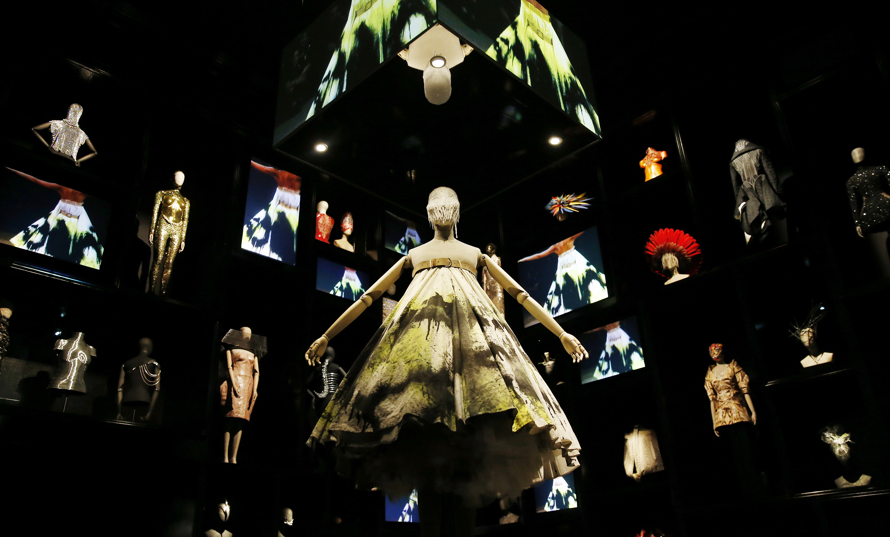 A dress which was created for the Alexander McQueen No. 13 1999 collection fashion show is displayed in the
