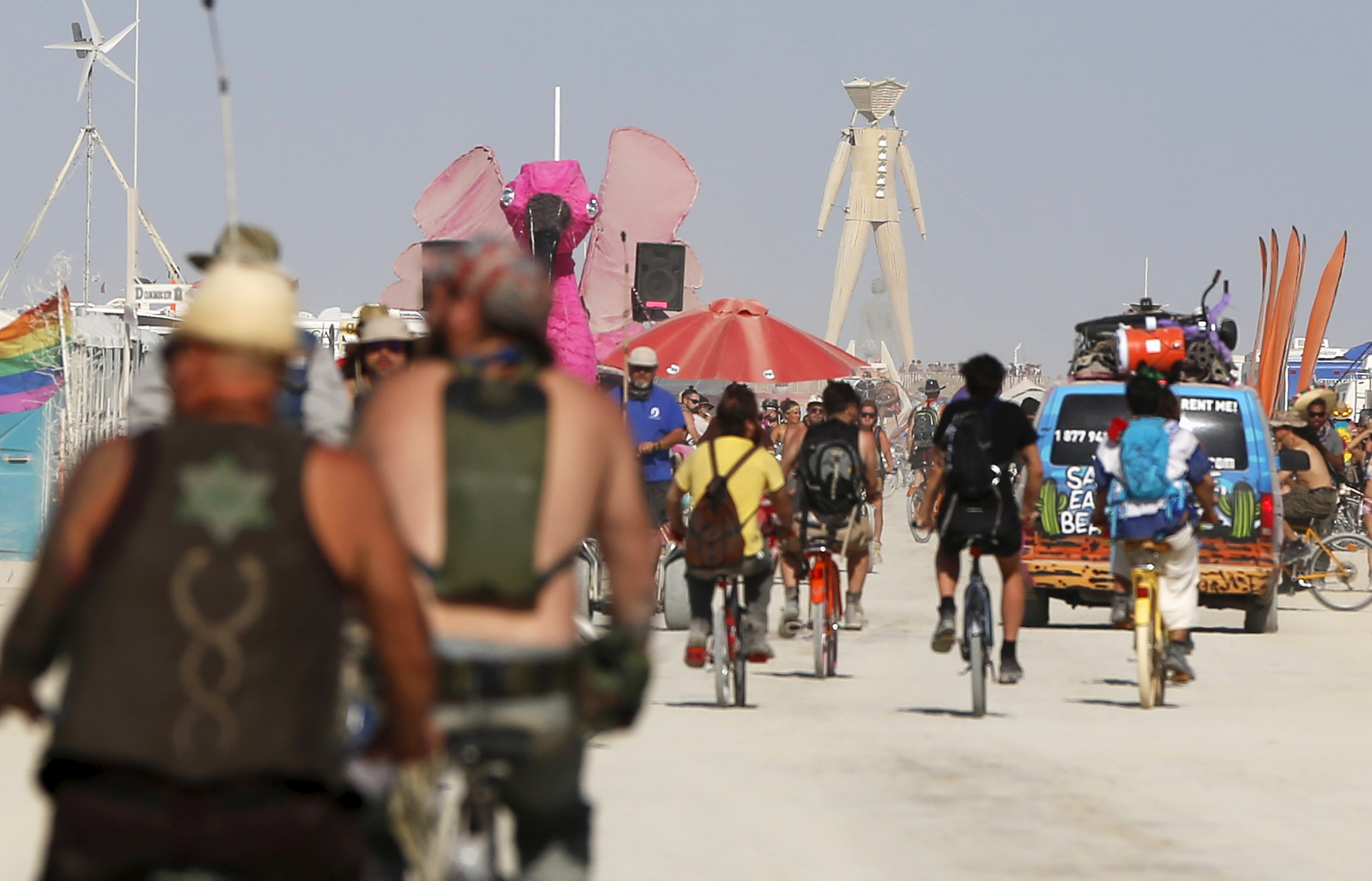 Bikes are a popular mode of transportation at the week-long summertime Burning Man festival in the Black Rock Desert of Nevada. Photo by Jim Urquhart/Reuters