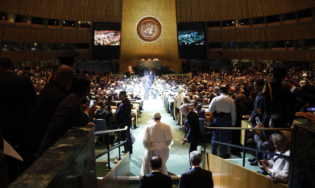 Pope Francis arrives for a plenary meeting of the United Nations Sustainable Development Summit 2015 at United Nations headquarters in Manhattan, New York, Sept. 25. More than 150 world leaders are expected to attend the U.N. Sustainable Development Summit from Sept. 25-27 at the United Nations to formally adopt a new sustainable development agenda. Photo by Mike Segar/Reuters