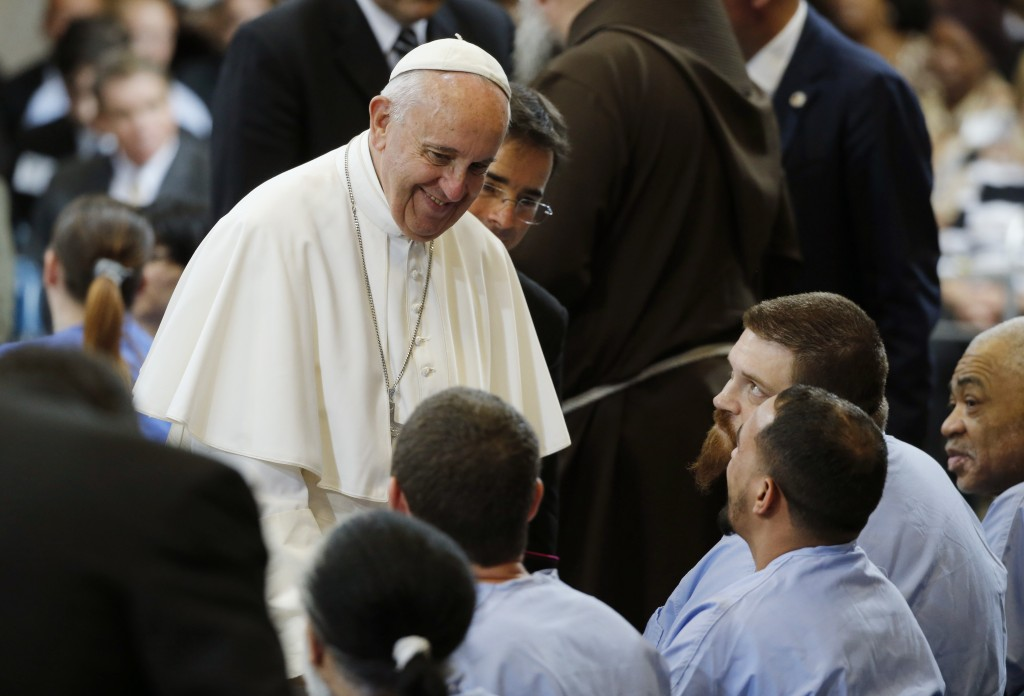 Pope Francis greets inmates at the Curran-Fromhold Correctional Facility in Philadelphia on Sept. 27. Photo by Jonathan Ernst/Reuters