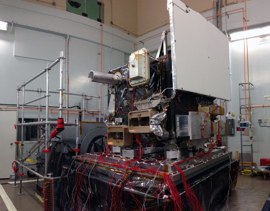NASA's ATLAS laser box structure sits on a shaking platform designed to test whether satellites can withstand the intense vibrations during launch. ATLAS is the laser system for the ICESat-2 satellite, which will measure global rates of melting ice.  Photo by NASA Goddard Space Flight Center/Kate Ramsayer