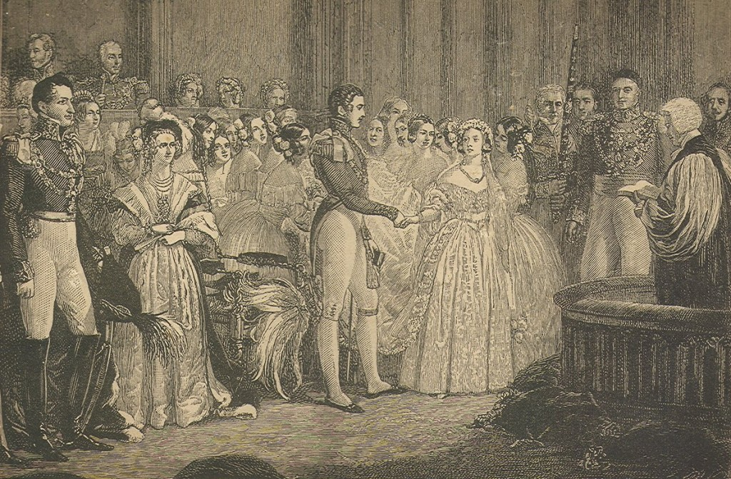 "Marriage of Queen Victoria and Prince Albert, Feb. 10, 1840. Engraving scanned from 19th century book, ""True Stories of the Reign of Queen Victoria"" by Cornelius Brown, 1886. Photo from Wikimedia Commons"
