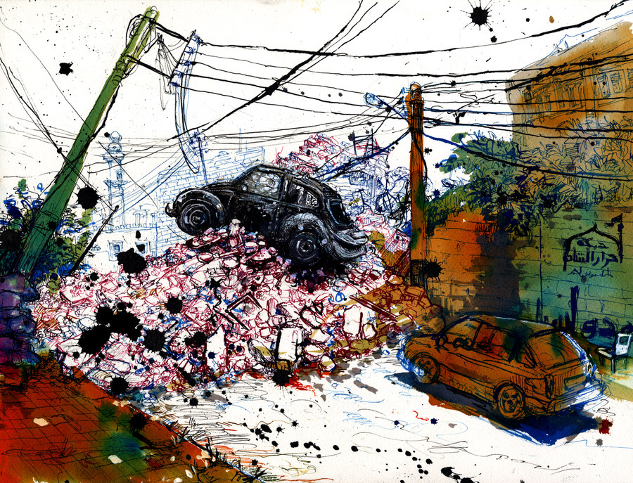 This drawing illustrates a photo taken in front of Ayn Jalut elementary school in the Ansari area of Aleppo. The school was bombed on April 30, 2014. Illustration by Molly Crabapple