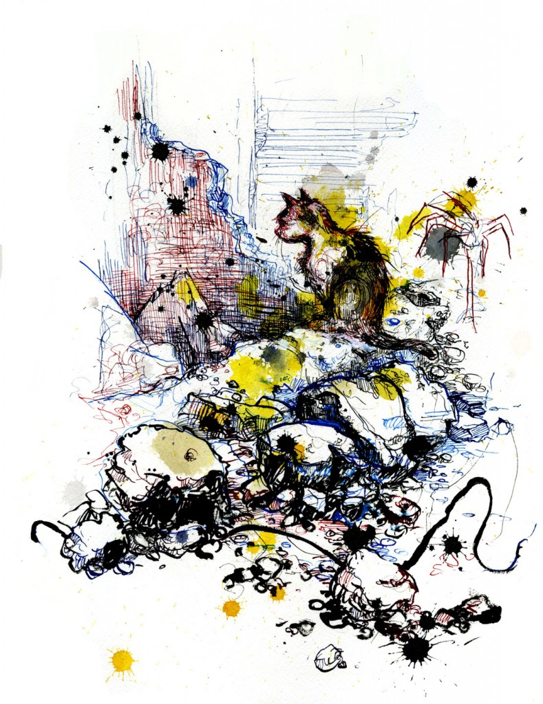 A cat wandering through the rubble of the deserted Tallat Al-Zarazeer district on the southern edge of the city. Illustration by Molly Crabapple