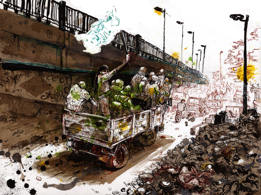 Fighters belonging to the local Islamist group, Fastaqim Kama Umert, parade in the Jsr Al-Haj bridge roundabout on May 23. Illustration by Molly Crabapple