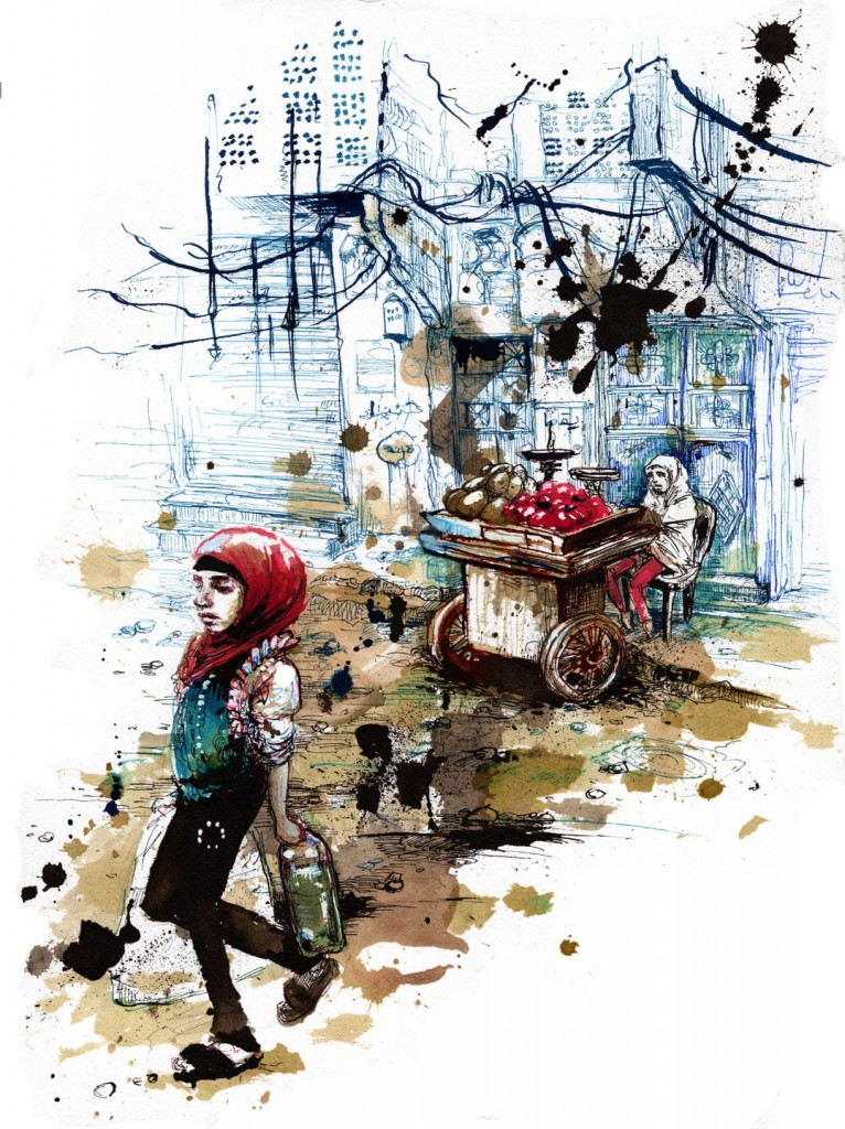 Life in the war zone that is Aleppo is peculiarly harsh on children. Childhood has become an irrelevant stage that young locals skip over. Illustration by Molly Crabapple