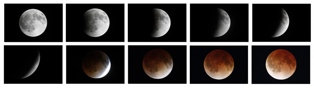 A combination photo shows the moon during a total lunar eclipse as seen from Mexico City, April 15, 2014. Photo by REUTERS/Edgard Garrido