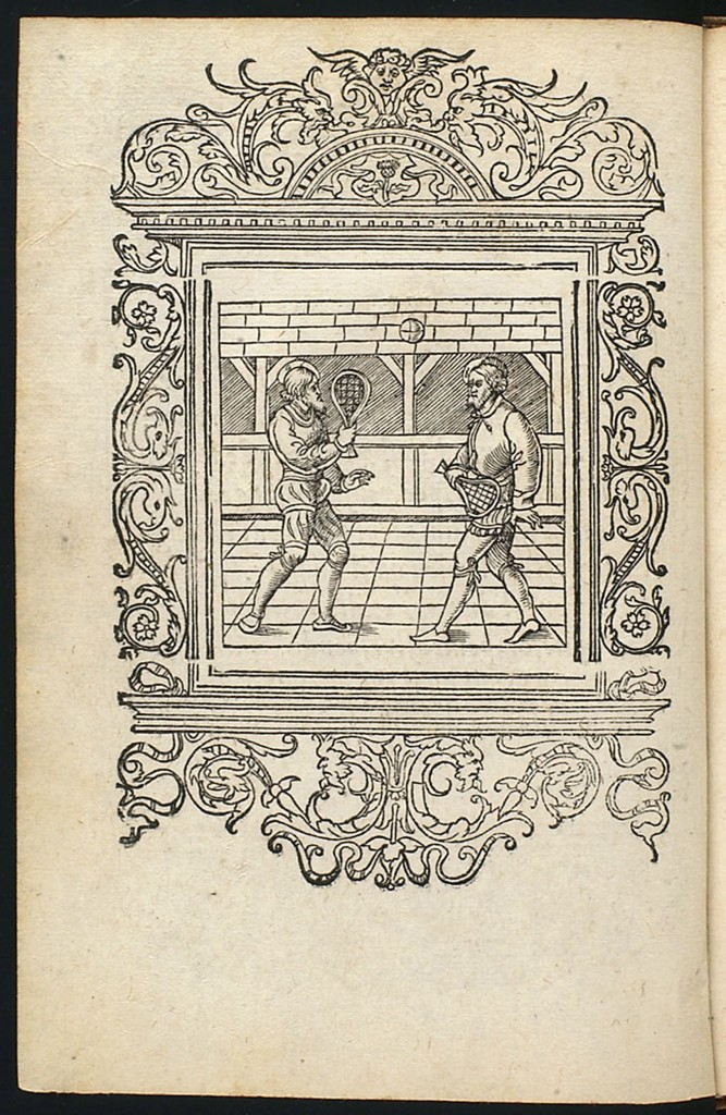 Two men playing an early version of tennis, called jeu de paume,  or game of palms. Photo credit: University of Glasgow