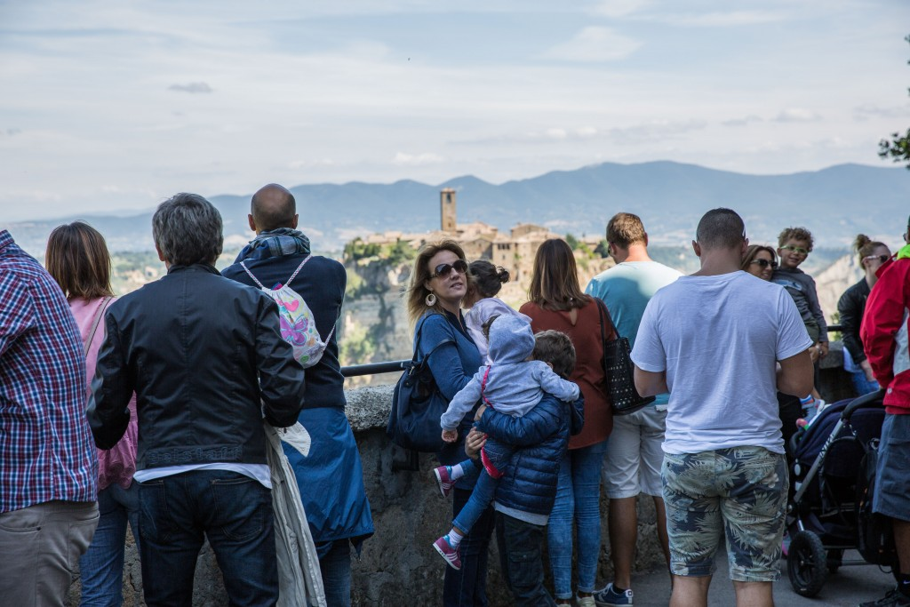 Tourism is booming in the town of Civita di Bagnoregio, rising from 40,000 a year to 500,000 a year since 2010. This year the town of Bagnoregio began charging visitors about $1.70 to enter. Photo by Frank Carlson