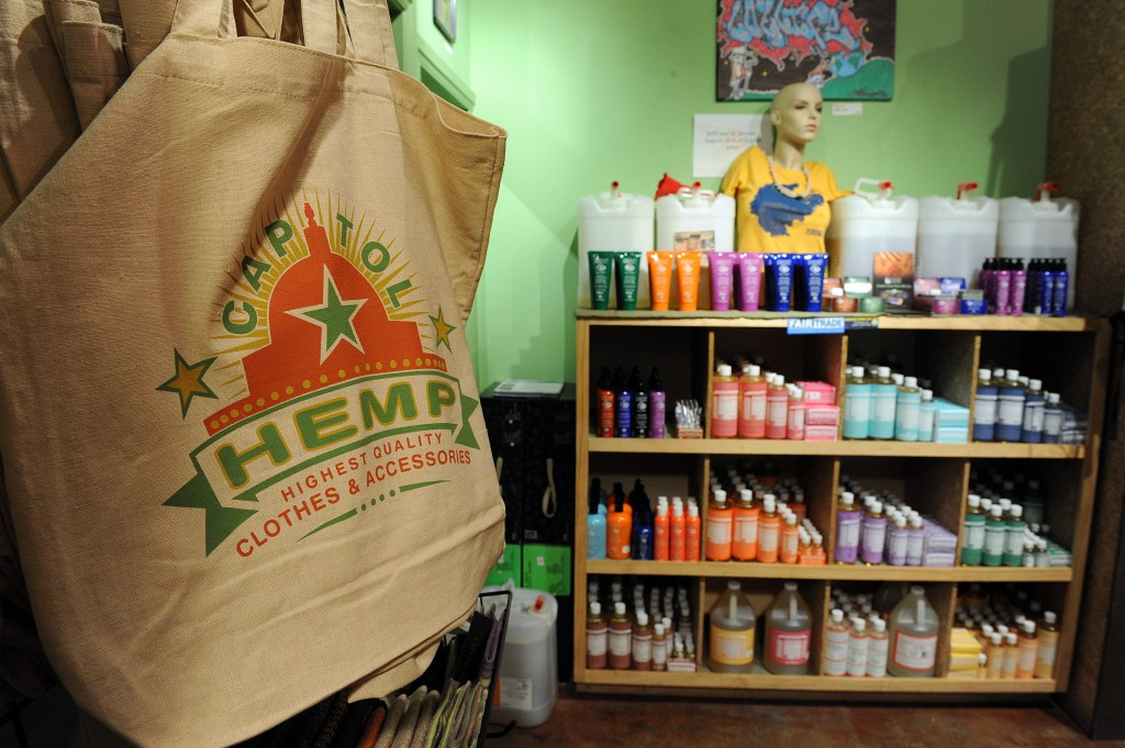 "FOR USE WITH AFP STORY by Rob Lever, Health-US-drugs-farm-hemp-marijuana  Hand bags and bath products (right) are among the many hemp products for sale at the ""Capitol Hemp"" store on May 20, 2010 in the Adams Morgan neighborhood of Washington, DC. Hemp is not marijuana, but its resemblance to its cannabis cousin has kept the plant banned in the United States for decades despite a variety of uses for textiles, food, cosmetics and other purposes.   AFP PHOTO / Tim Sloan (Photo credit should read TIM SLOAN/AFP/Getty Images)"