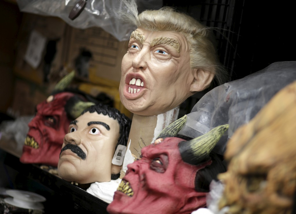 A mask of Republican presidential candidate Donald Trump is for sale in Cuernavaca, Mexico, on Oct. 14, 2015. Photo by Henry Romero/Reuters