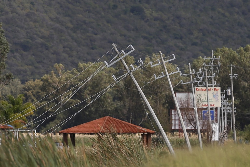 Electricity poles impacted by wind after the passing of Hurricane Patricia are seen in La Union de Tula, Mexico October 24, 2015. Photo by Edgard Garrido/Reuters.