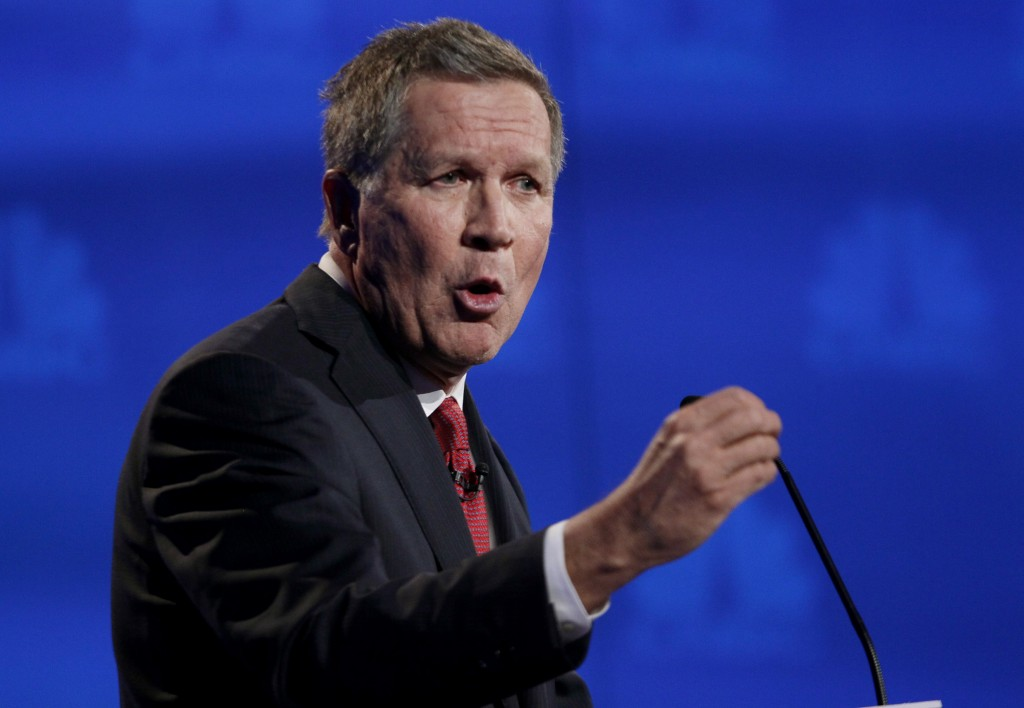 Republican U.S. presidential candidate Ohio Governor John Kasich at the 2016 U.S. Republican presidential candidates debate in Boulder, Colorado, Wednesday. Photo by Rick Wilking/Reuters
