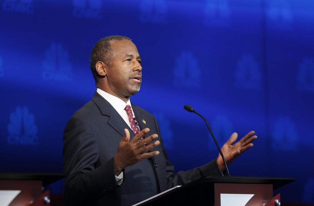Republican U.S. presidential candidate Dr. Ben Carson speaks at the 2016 U.S. Republican presidential candidates debate held by CNBC in Boulder, Colorado, Wednesday. Photo by Rick Wilking/Reuters