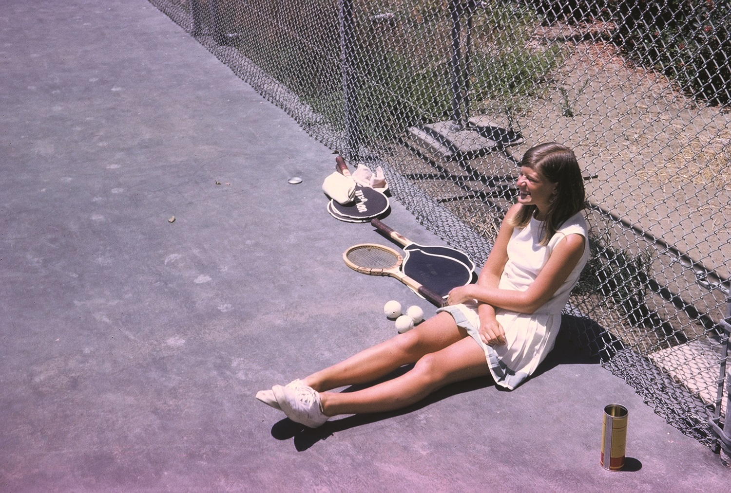 Sally Ride during a break from tennis. Courtesy of Tam O'Shaughnessy/MacMillan Children's Publishing Group